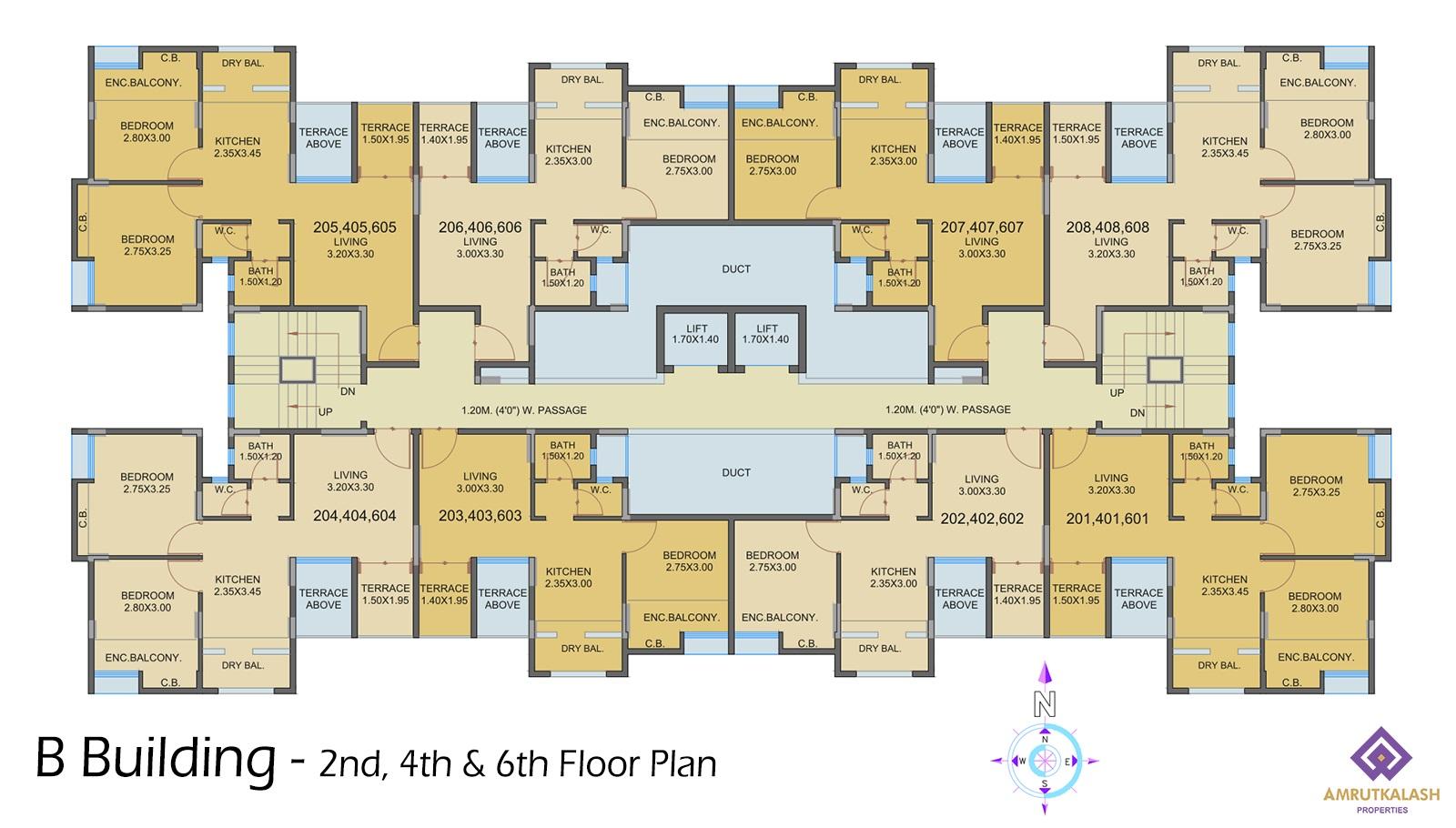 Floor Plans Amrut Kalash Properties Diagram 3 Sixth Layout B Building 2nd 4th 6th Plan